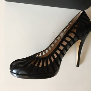 Talbots Black caged pumps